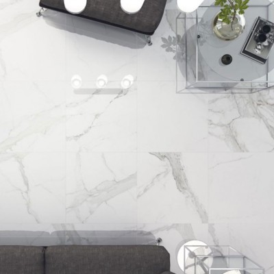 Statuario Mercury Marble Effect Polished Porcelain Tile 600x600