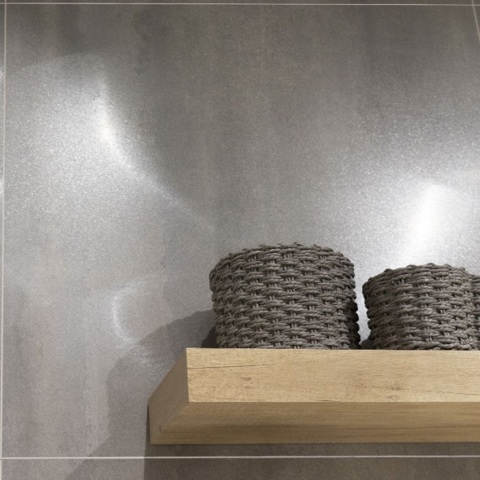 Nox Grey Lappato Metal Effect Porcelain Tiles 600x600