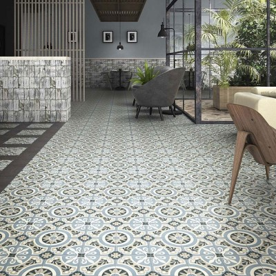Brindisi Azul Victorian Patterned Porcelain Floor Tile