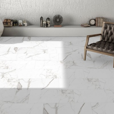 Palatina Marble Effect Polished Porcelain Floor Tile 600x600